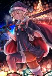 1girl alternate_costume artoria_pendragon_(all) bag bangs black_legwear blonde_hair boots box breasts cape christmas christmas_garland christmas_tree dark_excalibur excalibur fate/grand_order fate_(series) fur_trim garland_(decoration) gift gift_box gloves hat highres holding holding_sword holding_weapon looking_at_viewer pantyhose pasoputi ribbon saber saber_alter santa_alter santa_costume santa_hat short_hair sky small_breasts solo star star_(sky) starry_sky sword thigh-highs weapon yellow_eyes