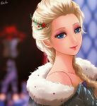 1girl blonde_hair blue_eyes braid collarbone commentary disney elsa_(frozen) english_commentary esther eyeshadow flower frozen_(disney) fur_trim hair_flower hair_ornament hair_over_shoulder head_tilt long_hair looking_at_viewer makeup pink_lips purple_eyeshadow signature single_braid solo upper_body
