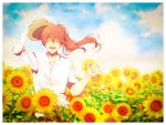 1boy :d ahoge bangs blue_sky closed_eyes clouds collared_shirt commentary_request day dress_shirt eyebrows_visible_through_hair facing_viewer fate/grand_order fate_(series) field flower flower_field hat highres holding holding_hat jewelry long_hair male_focus marei_(mercy) open_mouth outdoors ponytail redhead ring romani_archaman shirt sky sleeves_rolled_up smile solo sunflower upper_body waving white_shirt wing_collar