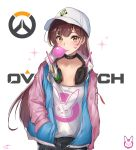 1girl bangs baseball_cap black_choker black_pants breasts brown_eyes brown_hair bubble_blowing casual chewing_gum choker cleavage collarbone commentary_request copyright_name d.va_(overwatch) eyebrows_visible_through_hair facial_mark glint hand_in_pocket hat headphones headphones_around_neck highres jacket konata_(knt_banri) logo long_hair long_sleeves looking_at_viewer open_clothes open_jacket overwatch pants sanpaku shirt shirt_tucked_in signature sketch solo sparkle standing two-tone_jacket upper_body white_background white_hat white_shirt