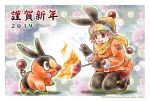 1girl 2019 :d angie_(kani-ga-tobuna) black_footwear black_gloves black_legwear blush boots breathing_fire brown_eyes character_name copyright_name creatures_(company) eye_contact fire flame floral_background food game_freak gen_5_pokemon gloves hood looking_at_another nengajou new_year nintendo open_mouth orange_coat personification pokemon pokemon_(creature) pokemon_(game) pokemon_bw scarf short_hair skewer smile squatting sweet_potato tepig thigh-highs thigh_boots yellow_scarf