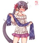 1girl akebono_(kantai_collection) alternate_costume aran_sweater artist_logo bare_shoulders bell blush casual collarbone cowboy_shot dated eyebrows_visible_through_hair flat_chest flower hair_bell hair_between_eyes hair_flower hair_ornament highres jingle_bell kanon_(kurogane_knights) kantai_collection long_sleeves looking_at_viewer miniskirt open_mouth pink_skirt purple_hair scarf side_ponytail signature simple_background skirt solo standing sweatdrop sweater violet_eyes white_background