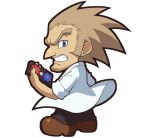1boy albert_w_wily black_pants blue_eyes brown_footwear brown_hair chibi clenched_teeth kin_niku labcoat long_hair male_focus official_style pants parody rockman rockman_(classic) rockman_11 rockman_rockman simple_background solo style_parody teeth white_background younger
