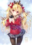 1girl ameto_yuki bangs blonde_hair blush bow brown_legwear brown_scarf coat coffee_cup commentary_request cup disposable_cup duffel_coat ereshkigal_(fate/grand_order) eyebrows_visible_through_hair fate/grand_order fate_(series) fingernails fringe_trim grey_skirt hair_between_eyes hair_bow head_tilt holding holding_cup long_hair long_sleeves looking_at_viewer pantyhose parted_lips plaid plaid_scarf plaid_skirt pleated_skirt red_bow red_coat red_eyes scarf skirt sleeves_past_wrists snowflakes solo tiara two_side_up very_long_hair