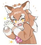 +_+ 1girl :d animal_ears appleq ascot bangs blush brown_eyes brown_hair commentary_request eyebrows_visible_through_hair fang fur_collar gloves grey_hair hands_together hands_up highres interlocked_fingers japanese_wolf_(kemono_friends) kemono_friends long_hair long_sleeves looking_at_viewer multicolored_hair open_mouth orange_pupils own_hands_together plaid plaid_neckwear sailor_collar smile solo sparkle sweater two-tone_hair upper_body white_gloves wolf_ears