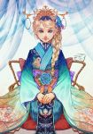 1girl blonde_hair blue_eyes blue_flower blue_rose bow braid elsa_(frozen) floral_print flower frozen_(disney) furisode hair_flower hair_ornament hair_over_shoulder highres japanese_clothes kimono layered_clothing layered_kimono long_hair obi rope rose sash seiza single_braid sitting smile solo tiii