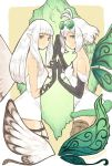 2girls aerie_(bravely_default) ahoge bare_shoulders black_gloves bluestar bravely_default:_fairy's_effect bravely_default:_flying_fairy bravely_default_(series) breasts brown_legwear commentary_request dress elbow_gloves expressionless eyewear_on_head fairy fairy_wings from_side fur_trim glasses gloves green_eyes grey_eyes hands_together highres long_hair looking_at_viewer multiple_girls pointy_ears rinne_(bravely_default) short_dress short_hair sketch small_breasts strapless strapless_dress thigh-highs thigh_strap white_dress white_hair wings
