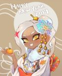 1girl 2019 :d breasts dark_skin fang food fruit hair_ornament happy_new_year highres holding japanese_clothes jtveemo kimono long_hair looking_at_viewer mandarin_orange medium_breasts new_year octarian octoling open_mouth silver_hair smile solo splatoon splatoon_(series) splatoon_2 suction_cups tentacle_hair upper_body white_kimono yellow_eyes
