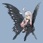 1girl :p anne_(bravely_second) antenna_hair black_gloves black_legwear black_leotard blue_background blue_eyes boots bravely_default_(series) bravely_second:_end_layer elbow_gloves fairy fairy_wings gloves grey_hair leotard long_hair pointy_ears simple_background sitting smile solo thigh-highs thigh_boots tongue tongue_out wings