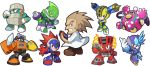 6+boys ;) acid_man albert_w_wily android arm_cannon blast_man block_man blue_eyes brown_hair chibi crossed_arms fire fuse_man helmet kin_niku labcoat multiple_boys official_style one_eye_closed orange_eyes outstretched_arm parody pile_man pointing pointing_at_self red_eyes robot rockman rockman_(classic) rockman_11 rockman_rockman rubber_man sideburns simple_background smile style_parody torch_man tundra_man violet_eyes weapon white_background younger