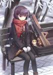 1girl bangs bench black_jacket black_legwear breasts breath brown_footwear bullpup character_doll closed_mouth commentary curled_fingers ear eyebrows_visible_through_hair feet_out_of_frame fringe_trim girls_frontline gloves gun hair_ornament hair_ribbon hands_on_own_thighs highres jacket kalina_(girls_frontline) light_blush light_brown_skirt long_hair looking_at_viewer medium_breasts necktie nieun3568 one_side_up open_bag outdoors pantyhose pavement plaid plaid_skirt pleated_skirt pocket purple_hair red_eyes red_neckwear red_ribbon red_scarf ribbon rifle scarf scope shadow shirt sitting skirt sniper_rifle snow snowflake_hair_ornament snowflake_print solo stuffed_animal stuffed_reindeer stuffed_toy tree tsurime twig v-shaped_eyebrows wa2000_(girls_frontline) walther walther_wa_2000 wavy_mouth weapon white_gloves white_shirt winter winter_clothes wooden_bench