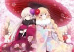 2girls ahoge arrow bamboo bangs blonde_hair blue_kimono braid breasts cherry_blossoms eyebrows_visible_through_hair fate/grand_order fate_(series) floral_print flower fur_collar furisode hair_between_eyes hair_flower hair_ornament hamaya holding holding_umbrella japanese_clothes jeanne_d'arc_(alter)_(fate) jeanne_d'arc_(fate) jeanne_d'arc_(fate)_(all) kimono long_hair long_sleeves looking_at_viewer medium_breasts miko_92 multiple_girls obi oriental_umbrella print_kimono purple_flower purple_kimono red_flower sash side-by-side sidelocks signature silver_hair single_braid sitting sleeves_past_wrists tree_branch umbrella very_long_hair violet_eyes white_flower wide_sleeves yellow_eyes