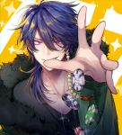 1boy absurdres arisugawa_dice black_shirt blue_hair collarbone commentary_request dice dice_hair_ornament eyebrows_visible_through_hair fur-trimmed_jacket fur_trim green_jacket grin hair_between_eyes hair_ornament hair_over_shoulder hands highres hypnosis_mic jacket long_sleeves looking_at_viewer male_focus medium_hair nanin pink_eyes poker_chip shirt smile solo upper_body v-shaped_eyebrows