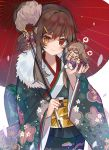 >_< 2girls ahoge blue_kimono blush brown_hair chibi closed_mouth commentary_request fang floral_print flower fur_collar furisode girls_frontline hair_bun hair_flower hair_ornament hair_ribbon hairclip hakama head_tilt heart heterochromia holding holding_umbrella japanese_clothes kanzashi kimono long_hair long_sleeves looking_at_viewer m1014_(girls_frontline) mid_(gameshe) multiple_girls obi open_mouth oriental_umbrella print_kimono purple_hakama red_eyes red_kimono red_ribbon rfb_(girls_frontline) ribbon sash sidelocks smile spoken_heart standing thick_eyebrows umbrella upper_body white_flower wide_sleeves yellow_eyes