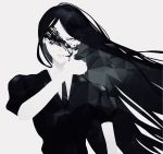 1other androgynous black_eyes black_hair bort crystal_hair gem_uniform_(houseki_no_kuni) grey_background highres houseki_no_kuni long_hair looking_at_viewer necktie solo upper_body white_skin wiping_face yonaguni_sun