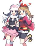 2girls :d bike_shorts black_hair black_shirt black_shorts blue_eyes bow bracelet breasts brown_hair creatures_(company) floating_hair game_freak hair_bow hairband haruka_(pokemon) hat highres hikari_(pokemon) jacket jewelry leg_up long_hair miniskirt multiple_girls nintendo open_clothes open_jacket open_mouth pink_skirt pokemon red_hairband red_jacket red_shirt scarf shirt short_shorts shorts shorts_under_shorts simple_background skirt sleeveless sleeveless_shirt small_breasts smile standing standing_on_one_leg striped striped_bow violet_eyes white_background white_hat white_scarf white_shorts yuihiko