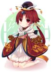 1girl apron bangs benienma_(fate/grand_order) blush brown_eyes brown_hair brown_hat brown_kimono closed_mouth commentary_request eyebrows_visible_through_hair fate/grand_order fate_(series) food full_body hat heart highres holding japanese_clothes kimono kneeling ko_yu long_hair long_sleeves low_ponytail no_shoes onigiri parted_bangs ponytail smile solo very_long_hair white_apron white_background white_legwear wide_sleeves