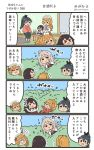 4koma 6+girls :d akagi_(kantai_collection) aquila_(kantai_collection) bare_shoulders black_hair black_hakama blue_hakama blush brown_hair chibi chibi_inset comic commentary_request cup detached_sleeves flying_sweatdrops hair_between_eyes hakama hat high_ponytail highres holding holding_cup houshou_(kantai_collection) jacket japanese_clothes kaga_(kantai_collection) kantai_collection kimono littorio_(kantai_collection) long_hair long_sleeves megahiyo mini_hat multiple_girls open_mouth pink_kimono pleated_skirt pola_(kantai_collection) ponytail red_hakama red_jacket red_skirt short_hair side_ponytail sitting skirt smile speech_bubble tasuki thigh-highs translation_request twitter_username v-shaped_eyebrows white_hat white_legwear wide_sleeves