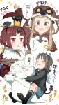 3girls :d angel_wings ano_ko_wa_toshi_densetsu bangs benienma_(fate/grand_order) bird_costume bird_hood black_hoodie black_legwear blue_shorts blush bow brown_eyes brown_hair brown_hat cellphone closed_eyes commentary_request copyright_name demon_horns demon_tail eyebrows_visible_through_hair fake_halo fake_horns fate/grand_order fate_(series) feathered_wings gomennasai hair_ornament hairclip hat holding holding_cellphone holding_phone hood hood_down hood_up hoodie horns ichihara_nina idolmaster idolmaster_cinderella_girls long_hair low_ponytail multiple_girls no_shoes open_mouth phone ponytail red_bow red_eyes short_shorts shorts sidelocks smile socks soles tail tail_bow tears translation_request trembling v-shaped_eyebrows very_long_hair white_wings wings zangyaku-san