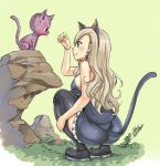 1girl animal_ears black_footwear black_hairband blonde_hair blue_dress boots bracelet breasts brown_eyes cat cat_ears cat_tail dress earrings eden's_zero fake_animal_ears fake_tail frilled_dress frills full_body hairband happy_(eden's_zero) jewelry long_hair mashima_hiro medium_breasts official_art rebecca_(eden's_zero) shiny shiny_legwear shiny_skin short_dress sideboob signature simple_background sleeveless sleeveless_dress smile solo squatting strapless strapless_dress tail thigh-highs thigh_boots yellow_background zettai_ryouiki