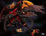1boy armor black_armor black_background claws full_body helmet high_school_dxd jadenkaiba large_wings mini_wings multiple_wings original red_eyes sharp_teeth tail teeth visor wings