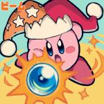 >:o 1other attacking_viewer blue_background blush_stickers copy_ability enotou_(enotou_moi) glowing glowing_weapon hal_laboratory_inc. hat hoshi_no_kirby jester_cap kirby kirby_(series) kirby_(specie) nintendo no_humans open_mouth simple_background solo sparks wand weapon