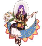 bracelet brown_hair dress earrings floral_print flower full_body gradient_hair highres hijiri_byakuren holding holding_flower holding_necklace jewelry long_hair looking_at_viewer mefomefo multicolored_hair purple_hair sandals short_sleeves simple_background sitting smile touhou white_background white_flower