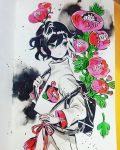 1girl black_bag black_hair cowboy_shot flower green_eyes highres leaf long_sleeves maruti_bitamin multicolored_hair original pink_flower plant red_flower solo traditional_media two-tone_hair watercolor_(medium) white_hair