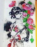 1girl black_bag black_hair cowboy_shot flower green_eyes highres leaf long_sleeves maruti_bitamin multicolored_hair original pink_flower plant red_flower solo traditional_media two-tone_hair watercolor_(medium) white_hair