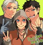1girl 2boys black_hair blue_eyes breasts cleavage commentary_request dante_(dmc:_devil_may_cry) devil_may_cry dmc:_devil_may_cry fingerless_gloves gloves jacket jewelry kat_(devil_may_cry) lowres multiple_boys necklace short_hair smile vergil white_hair