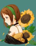 1girl aqua_background bang_dream! black_choker black_jacket brown_eyes brown_hair choker earrings floral_background flower from_side hazawa_tsugumi jacket jewelry naaya_(nanayo-nuo332) off_shoulder profile shirt short_hair shoulder_tattoo solo spaghetti_strap sunflower tattoo upper_body yellow_shirt