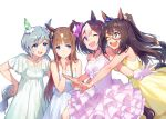 4girls animal_ears blue_eyes bow brown_hair chin_stroking dress el_condor_pasa gloves grass_wonder grey_hair hair_bow hand_on_another's_shoulder horse_ears horse_tail imminent_hug jewelry long_hair mask multicolored_hair multiple_girls necklace okada_manabi one_eye_closed seiun_sky short_hair special_week streaked_hair tail umamusume violet_eyes white_background white_gloves