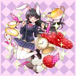 1girl :d animal_ears argyle argyle_background bangs black_footwear black_hair black_jacket blazer blue_skirt blush bow bowtie braid breasts brown_sweater card checkered collared_shirt commentary_request cup eyebrows_visible_through_hair floating_hair french_braid full_body hair_ornament hairclip hands_up highres jacket kawanobe legs_up loafers long_hair long_sleeves looking_at_viewer miniskirt mushroom nijisanji open_mouth pink_neckwear plaid playing_card pleated_skirt pocket_watch rabbit_ears saucer shirt shoes sidelocks skirt smile solo sparkle sweater teacup teapot thigh-highs tsukino_mito undershirt violet_eyes virtual_youtuber watch white_legwear white_shirt wing_collar zettai_ryouiki