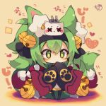 +_+ 1girl animal_ear_fluff animal_ears azur_lane bangs bell black_hairband black_legwear black_ribbon blush brown_background cannon character_request chibi covered_mouth eyebrows_visible_through_hair full_body green_eyes green_hair hair_bell hair_between_eyes hair_ornament hair_ribbon hairband heart highres jingle_bell long_sleeves muuran pantyhose ribbon short_eyebrows signature sleeves_past_fingers sleeves_past_wrists solo standing thick_eyebrows turret wide_sleeves x_x
