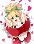 1girl android arms_up blonde_hair blush capcom dress eyebrows_visible_through_hair frilled_dress frills from_above green_eyes hair_between_eyes hair_ribbon long_hair looking_up open_mouth petals ponytail red_footwear ribbon rockman rockman_(classic) roll sakuraba_(kirsche_x) sidelocks simple_background smile solo white_background
