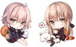 2girls :< animal artoria_pendragon_(all) bangs barefoot black_camisole black_dress black_jacket black_shorts blue_jacket blush bow brown_bow brown_eyes brown_hair brown_legwear camisole chibi closed_mouth commentary cup disposable_cup dog dress drinking_straw eyebrows_visible_through_hair fast_food fate/grand_order fate/stay_night fate_(series) food french_fries fur-trimmed_jacket fur-trimmed_sleeves fur_trim hair_between_eyes hair_bow hamburger heart hitsukuya holding holding_food hood hood_down hooded_jacket jacket jeanne_d'arc_(alter)_(fate) jeanne_d'arc_(fate)_(all) kneehighs long_hair long_sleeves looking_at_viewer low_ponytail multiple_girls no_shoes open_clothes open_jacket ponytail saber_alter short_shorts shorts signature simple_background sitting sleeves_past_wrists spoken_heart symbol_commentary very_long_hair white_background wicked_dragon_witch_ver._shinjuku_1999