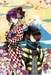 1boy 1girl absurdres black_flower black_gloves black_hat blue_scarf brown_eyes brown_hair checkered checkered_kimono copyright_name flower gegege_no_kitarou gloves grey_hakama grey_kimono hair_flower hair_ornament hair_over_one_eye hakama haori hat highres japanese_clothes kimono kitarou looking_at_viewer nekomusume obi purple_hair red_flower sash scarf shimizu_sorato short_hair standing striped tied_hair white_flower