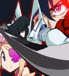 3girls bangs black_hair blue_eyes eyepatch fighting_stance glowing glowing_eye harime_nui highres holding holding_sword holding_weapon jankojaro junketsu katana kill_la_kill kiryuuin_satsuki living_clothes matoi_ryuuko multiple_girls solo_focus sword symbol-shaped_pupils thick_eyebrows weapon