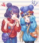 2girls abigail_williams_(fate/grand_order) animal_bag animal_ears animal_hat bad_anatomy bag bangle bangs bare_shoulders bear_ears bear_hat black_legwear blonde_hair blue_eyes blue_hat blue_pants blue_sweater blush bow bracelet breasts casual cleavage collar commentary_request cowboy_shot denim detached_collar eyebrows_visible_through_hair fang fate/grand_order fate_(series) hands_up hat hat_bow head_tilt heart highres jeans jewelry jiang_shennong katsushika_hokusai_(fate/grand_order) long_hair long_sleeves medium_breasts multiple_girls off-shoulder_sweater open_mouth orange_bow pants pantyhose parted_bangs puffy_long_sleeves puffy_sleeves purple_hair red_bow red_collar red_sweater shoulder_bag sleeves_past_fingers sleeves_past_wrists striped striped_background sweater tentacle tokitarou_(fate/grand_order) turtleneck very_long_hair violet_eyes
