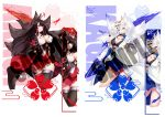 2girls akagi_(azur_lane) animal_ears artist_logo artist_name azur_lane bangs black_hair black_legwear blue_eyes blue_skirt blush breasts brown_hair character_name cleavage closed_mouth collarbone commentary commission english_commentary eyebrows_visible_through_hair fox_ears fox_tail gainoob gloves japanese_clothes kaga_(azur_lane) large_breasts long_hair looking_at_viewer mask multiple_girls multiple_tails multiple_views red_eyes red_skirt sample short_hair skirt smile tail watermark white_hair wide_sleeves