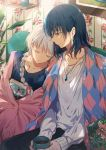 1boy 1girl bangs black_hair blanket blue_eyes blue_sweater book braid checkered collarbone couple cup dangmill earrings floral_print hair_ribbon head_on_shoulder hetero highres holding holding_book holding_cup howl_(howl_no_ugoku_shiro) howl_no_ugoku_shiro jewelry leaning_on_person long_hair long_sleeves looking_at_another mug pendant pink_ribbon ribbon shelf shirt sitting sleeping smile sophie_(howl_no_ugoku_shiro) sweater u_u wallpaper_(object) white_hair white_shirt