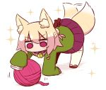 1girl afterimage all_fours animal_ears bangs bell bell_collar blonde_hair blush brown_footwear collar eyebrows_visible_through_hair fox_ears fox_girl fox_tail full_body green_shirt hair_between_eyes hair_bun hair_ornament jingle_bell kemomimi-chan_(naga_u) long_sleeves naga_u original pleated_skirt purple_skirt red_eyes ribbon-trimmed_legwear ribbon_trim sailor_collar shadow shirt sidelocks skirt sleeves_past_fingers sleeves_past_wrists solo sparkle tail tail_raised tail_wagging thigh-highs white_background white_legwear white_sailor_collar yarn yarn_ball