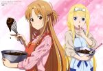 2girls absurdres alice_schuberg apron asuna_(sao) blonde_hair blue_apron blue_eyes blue_ribbon bow braid brown_eyes brown_hair cooking copyright_name crown_braid finger_to_mouth grey_sweater hair_bow highres holding index_finger_raised long_hair looking_at_viewer multiple_girls open_mouth pink_sweater ribbed_sweater ribbon shiny shiny_hair smile standing striped_apron sweater sword_art_online upper_body very_long_hair white_bow