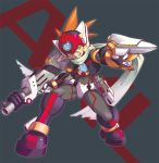 1boy android axl capcom character_name degarashi_(ponkotsu) dual_wielding full_body green_eyes grey_background grin gun helmet holding holding_weapon male_focus rockman rockman_x scar scarf simple_background smile solo spiky_hair standing weapon
