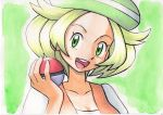 1girl bel_(pokemon) blonde_hair collarbone creatures_(company) game_freak green_eyes green_hat hat highres nintendo oka_mochi poke_ball pokemon pokemon_(game) pokemon_bw