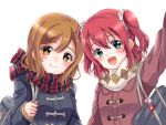 2girls :d aqua_eyes argyle argyle_scarf arm_up bag bag_charm bangs blue_coat blush brown_hair charm_(object) coat duffel_coat eneco holding_strap kunikida_hanamaru kurosawa_ruby long_sleeves looking_at_viewer love_live! love_live!_sunshine!! medium_hair multiple_girls open_mouth polka_dot polka_dot_scrunchie red_coat red_scarf redhead scarf school_bag scrunchie simple_background smile striped striped_scarf two_side_up upper_body white_background white_scarf yellow_eyes