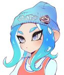 1girl beanie blue_hair blue_hat closed_mouth frown hat highres jtveemo long_hair octarian octoling shirt simple_background solo splatoon splatoon_(series) splatoon_2 suction_cups tentacle_hair upper_body white_background white_eyes white_shirt