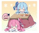 2girls :d bangs bare_shoulders blue_hair blue_ribbon closed_eyes commentary_request cup eyebrows_visible_through_hair food fruit hair_ribbon handheld_game_console holding holding_handheld_game_console kotatsu kotonoha_akane kotonoha_aoi long_hair long_sleeves lying mandarin_orange milkpanda multiple_girls off-shoulder_sweater on_stomach open_mouth puffy_long_sleeves puffy_sleeves red_ribbon ribbon sitting sleeves_past_wrists smile spoken_object sweat sweater table teacup teardrop under_kotatsu under_table very_long_hair voiceroid white_sweater