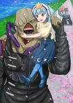 1boy 1girl bald blue_hair blush crossover gou_takeo hoshikawa_lily kneeling monster nemesis oosawa_uuryo petals resident_evil skirt star teeth zombie_land_saga