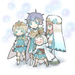 1boy 3girls artist_name ayawo blonde_hair blue_hair brother_and_sister cape chibi closed_eyes closed_mouth crown dress feather_trim fire_emblem fire_emblem_heroes fjorm_(fire_emblem_heroes) from_side gradient_hair gunnthra_(fire_emblem) hair_ornament hrid_(fire_emblem_heroes) long_hair long_sleeves multicolored_hair multiple_girls nintendo pink_hair short_dress short_hair siblings silver_hair sisters smile standing tiara veil white_hair ylgr_(fire_emblem_heroes)